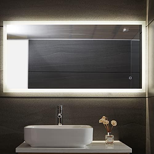 Aquamarin® Specchio Retroilluminato da Bagno - 120 x 60 cm, A++, Controluce Bianca Fredda/Calda/Neutra, a Touch, Antiappanamento - Specchio LED Rettangolare, da Parete, con Illuminazione (120 x 60 cm)