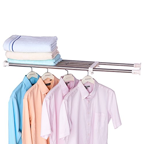 Hershii Expandable Closet Tension Shelf Rod Adjustable Storage Rack Heavy Duty DIY Organizer Divider for Wardrobe Cupboard Kitchen Bathroom