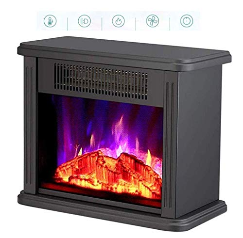DOUP Heating Electric Fireplace Realistic Flame Effect Stove Body Anti-scalding Portable Freestanding Fireplace Heater Heat Settings (1500 W 750 W) for Winter Living Room Bedroom