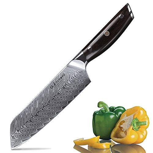TURWHO Santokumesser Damast,extra Scharfes Messer 18cm aus Profi Küchenmesser Damastmesser,Japanisches kochmesser verfügt VG-10 & ergonomischer Grif