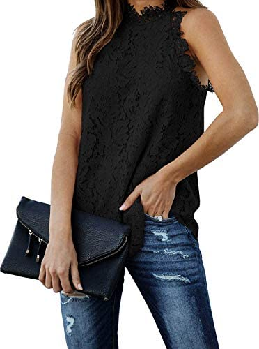 Womens Casual Lace Crochet Hollow Out Tank Tops Sexy Summer Sleeveless Tank Top X Large Black product image