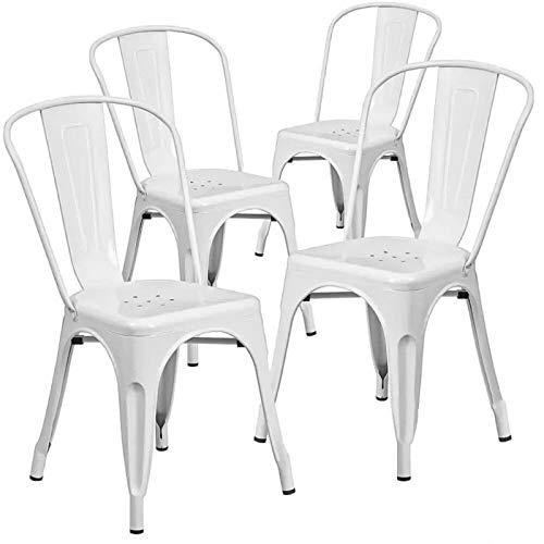Home Heavenly Pack de Cuatro sillas Comedor, Modelo TOLIX, sillas metalicas apilables Modelo Vintage Industrial, para Uso Interior, envío Desde España. (Blanco)