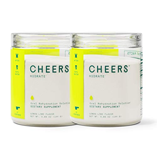 Cheers Hydrate ORS Electrolyte Powder- Electrolyte Supplement & Hydration Powder (24 Servings) - Hydration Electrolyte Supplement - Delicious Lemon/Lime