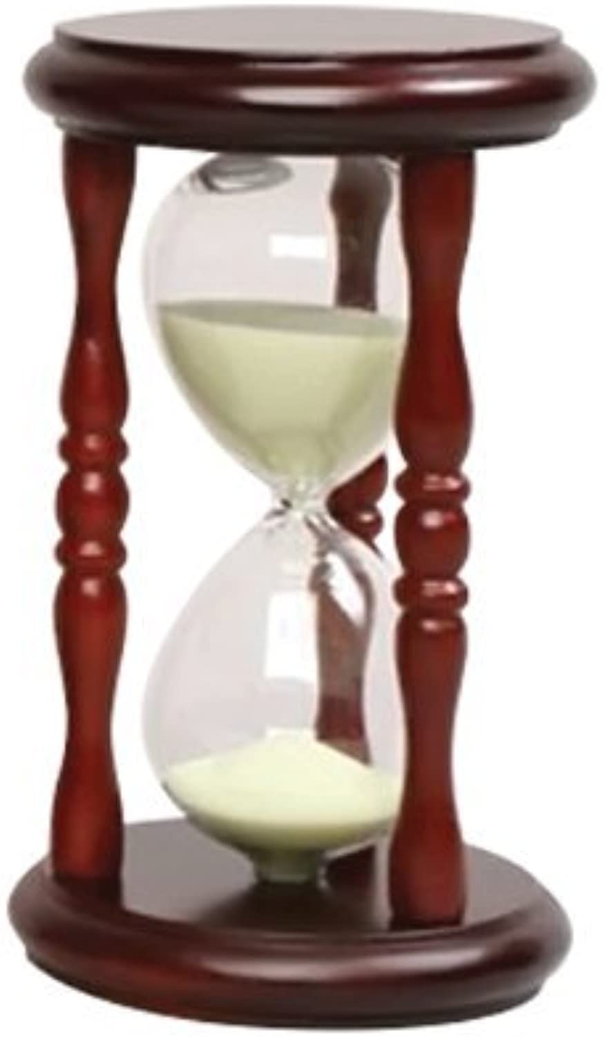 GW Schleidt Decorative 5 Minute Hourglass Sand Timer Gelb Sand in Wood Cherry Stand 6 Tall by G.W. Schleidt