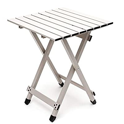 Sunnyfeel Aluminum, Collapsible Camping Table, Compact Lightweight Folding Table, Hard-Topped, Multi-Use for Beach/Lawn/Outdoor/Indoor/Travel/Picnic/Festival/BBQ, Foldable Camp Tables (Grey)