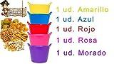 BricoLoco Lote 5 uds. Mini Cubo Flexible Colores Surtidos Goma Multiusos. Organizador pequeñas Cosas, Tornillos, Pinzas, Elementos Costura, Bol para tapeos, panchitos, pistachos Maceta o semillero.