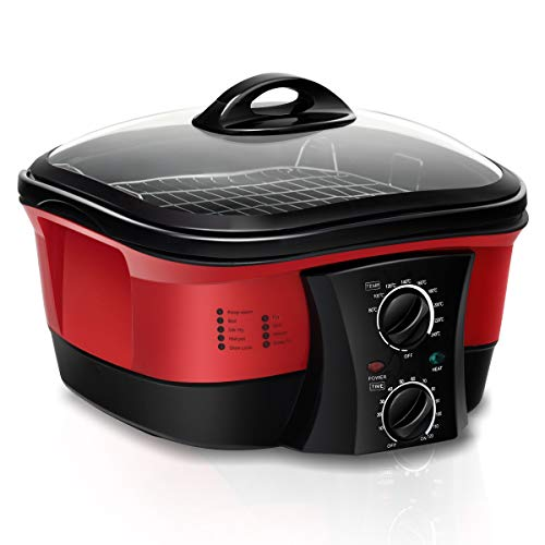 COSTWAY 8 in 1 Multikocher Slow Cooker Schongarer Multicooker mit Temperaturregler 5 L ink. Dampfständer, Frittierkorb, Spieße 1500WTimer Glasdeckel (Rot)