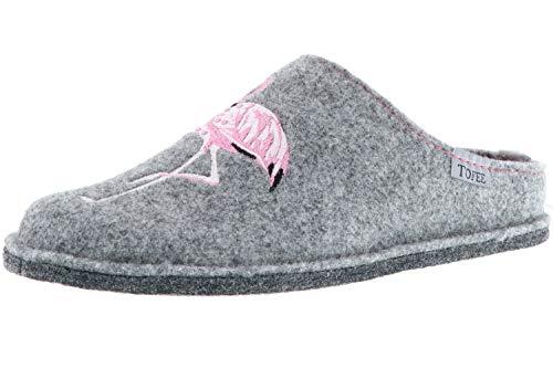 TOFEE Damen Hausschuhe (Flamingo) grau, Größe:37, Farbe:Grau