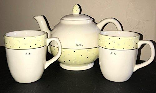 Rae Dunn by Magenta POUR. Tea Pot in typeset letters and 2 SIP. Tea Cups in typeset letters, all with Yellow Polka Dot Highlights Tea Set Coffee Cups.