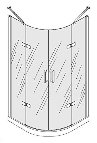 OrionShop Box doccia 2 lati Semicircolare ZEUS da 70x90cm con apertura Battente, cristallo trasparente temperato 6mm profili cromati