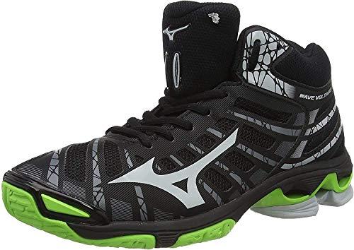 Mizuno Wave Voltage Mid, Zapatillas de Voleibol Unisex Adulto, Negro Negro Alto Rise Verde Gecko 37, 43 EU
