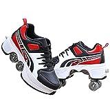 YUNWANG Multifuncional Deformación Patines 4 Ruedas Profesionales Adulto Conversión Recreativos Al Aire Libre Zapatos Patines De Ruedas