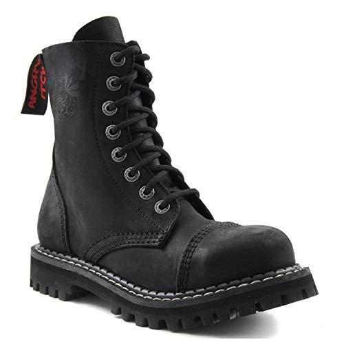 Botas de picor Enojado Botas de Combate de Cuero Negro Vintage Puntera de Acero Militar de 8 Agujeros Punk AI08/VBL/LE (41 EU)