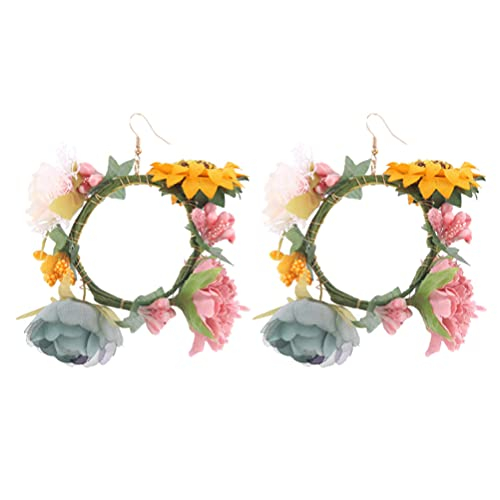 Holibanna Flower Earrings Floral Circle Drop Dangle Earrings Leverback Earrings Flower Jewelry Gifts for Women