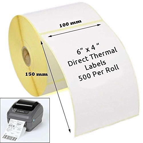 Thermoetiketten für Zebradrucker GK420D GX420D GK420T, 100 x 150 mm, Weiß, 1 Rolle (500 Etiketten)