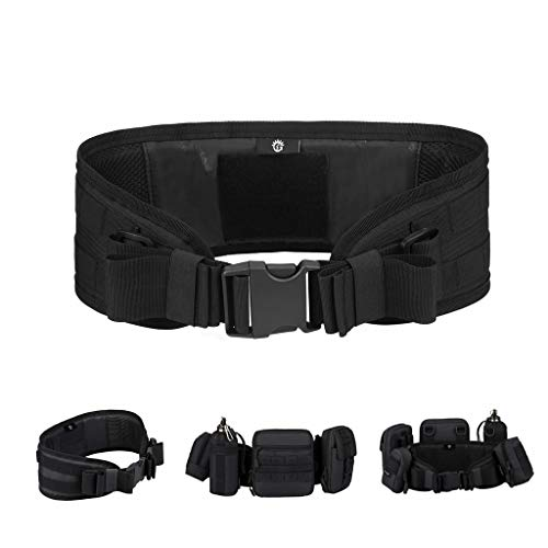 HUNTVP Cinturón Táctico Cinturón Ajustable Molle Bolso de Cintura Militar de Nailon Impermeable para Guardia Policía Seguridad Caza Senderismo Trekking al Aire Libre, Negro