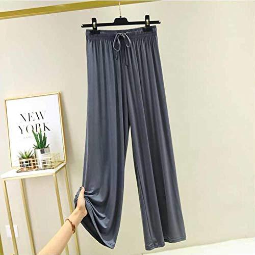 AOZLOVEC Pantalones de pierna ancha sueltos de cintura alta Pantalones anchos de gran tamaño para mujer Pantalones finos de todo partido Pantalones casuales de pierna recta XL (70-90 kg) Gris