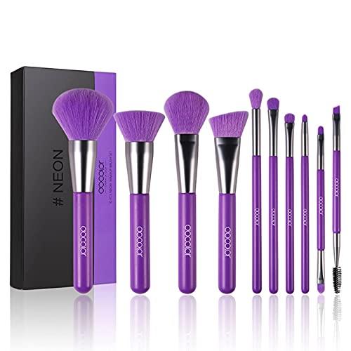 Pinceaux de maquillage Docolor 10pcs Neon Purple Professional Premium Synthetic Kabuki pour Foundation Blending Face Powder Blush Mineral Eyeshadow (Noble Purple)