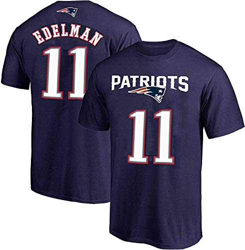 NFL Youth 8-20 Team Color Polyester Performance Mainliner Player Name and Number Jersey T-Shirt (Small 8, Julian Edelman New England Patriots Navy)
