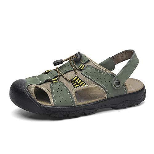 XMSIA Sandalias de Cuero para Hombre Los Dedos del pie for Hombre del Deporte al Aire Cerradas Sandalias de Playa Sandalias Camping Zapato de Senderismo de Playa (Color : Green, Size : 45)