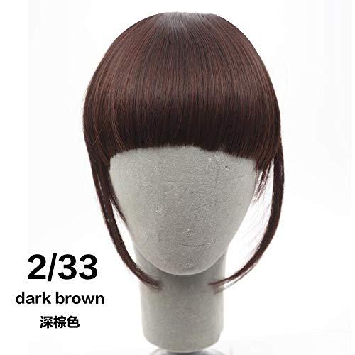 Perruque 6 Pouces Fringe Clip In Hair Bangs Hairpiece Clip In Hair Extensions Résistant À La Chaleur Synthétique Fake Bangs Hair Piece 8 Colors-Dark B