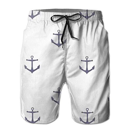 Ye Hua Segelboot Anker Kapitän Herren Quick Dry Badehose Langer elastischer Bund Bademode Badeanzüge mit Taschen M