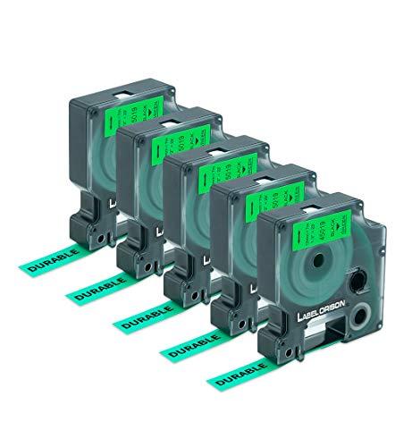 Etichetta Orison - Nastro di ricambio compatibile per DYMO D1 45019 per Dymo LabelManager, 12 mm x 7 m, 5 confezioni