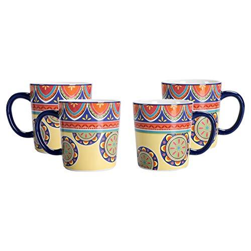 Bico Juego de 4 tazas de cerámica tunecinas para café, té, bebidas, microondas y lavavajillas