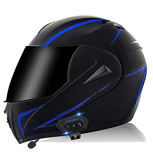 ZPTTBD Casco De Moto Modular Bluetooth Integrado, ECE Homologado Cascos Motocicleta Scooter Integrado con HD Anti Niebla Doble Visera para Mujer Hombre (Color : F, Size : (XL=61-62CM))