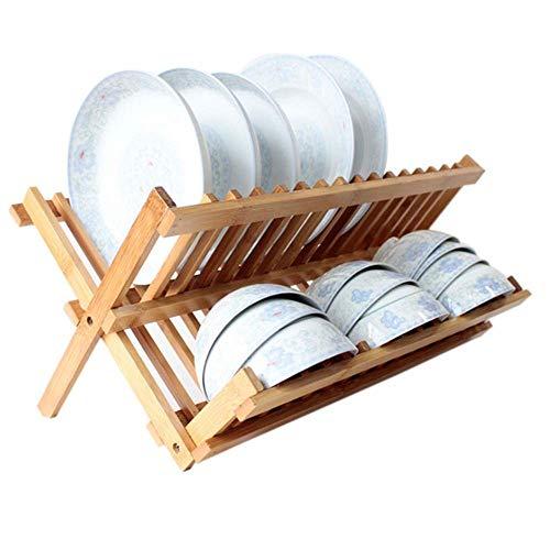 TIANYOU Plato Tendedero de Bambú Plato Estante Plegable Lavavajillas de Drenaje Rack Rack Plato para Encimera de la Cocina O en el Fregadero hermosa cocina/Amarillo