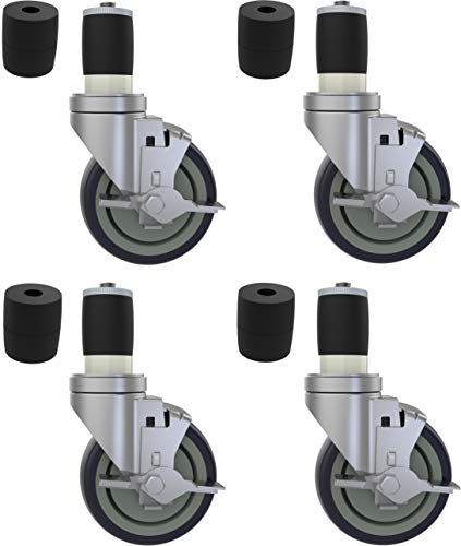 OK5STAR 4 inch Prep Table Casters Set of 4 for Commercial Kitchen Prep Tables, Expanding Stem Caster Wheels for Table Legs All with Brake Fit 1-1/2
