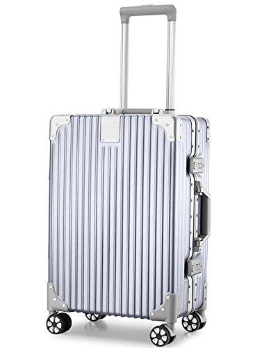 (アスボーグ)ASVOGUEスーツケースキャリーケース半鏡面仕上げアライン加工アルミフレームレトロ旅行出張軽量静音ファスナーレス機内持込可保護カバー付き