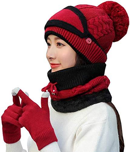 4 en 1 Conjunto de Bufanda de Invierno para Mujer, (Gorro de Punto, Gorro Cálido, Cubierta Facial, Protección para los Oídos, Guante)