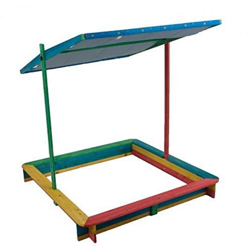 Harms Import XXL Sandkasten Ben | mit absenkbarem Dach | Dachlift | 119 x 119 cm | Höhe: 116cm | Sandkiste Buddelkiste Kinder Holzsandkiste