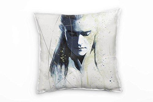 Paul Sinus Art Coussin décoratif « Le Seigneur des Anneaux Legolas » avec rembourrage 40 x 40 cm - Pour canapé, lounge - Décoration de bien-être - Fabriqué en Allemagne