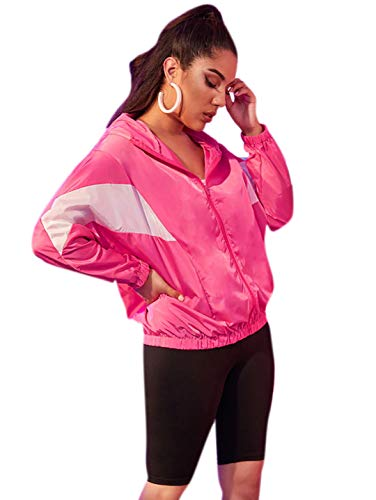 Romwe Women's Long Sleeve Colorblock Zipper Up Sporty Spring Hooded Jacket Red Large