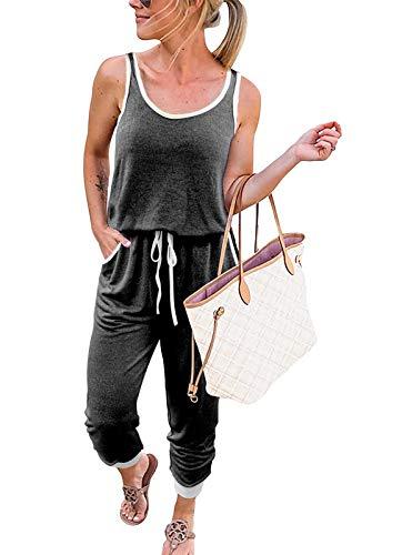 MEROKEETY Womens Sleeveless Scoop Neck Tank Jumpsuit Racerback Drawstring Pants Rompers, Charcoal, S