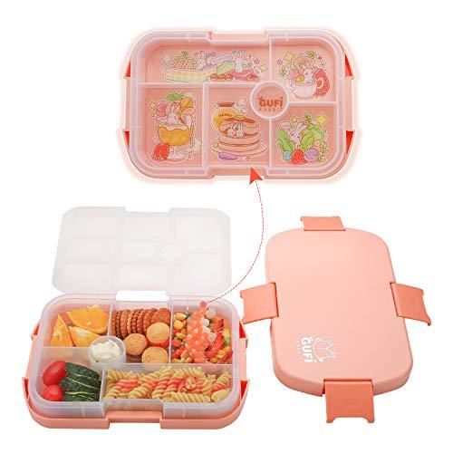 JiaQi Boîte Bento Enfant - Plastique Cartoon Lunch Box 6 Compartiments pour Maternelle Ecole, sans BPA, Lavable au Lave-Vaisselle, Fille