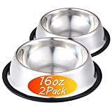 Stainless Steel Dog Bowl with Rubber Base for Food and Water, Pet Food...