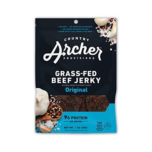 Original Beef Jerky by Country Archer, 100% Grass-Fed Beef, Gluten Free, 1 Ounce (12 Pack)