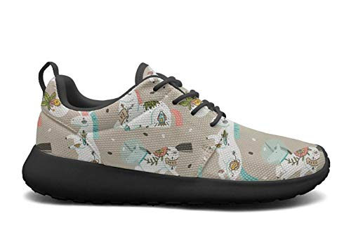 LOKIJM Cute Astronaut Unicorn Black Tennis Shoes for Women Cute Comfortable and Lightweight Best Running Shoes