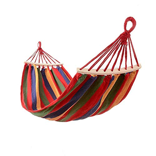 FENGSZ Outdoor Double Canvas Hammock Portable Camping Hanging Chair Swing Chair Hammock,200 * 150Cm,Load Capacity Up To 530 Lbs,Red