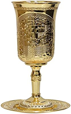 Prophet Elijah's Cup Wine Goblet with Saucer for Passover Seder Extra Tall with Brass Jerusalem Design