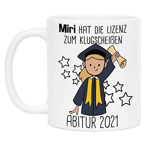 Abitur 2021 Tasse Personalisiert   Name & Haarfarbe   Abitur Geschenk Mädchen Abi Abschluss Kaffeetasse