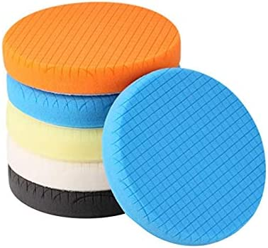 SPTA 5Pcs 5inch(125mm) Compound Buffing Sponge Pads Polishing Pads Kit Buffing Pad For Car Buffer DA Dual Action Polisher Sanding,Polishing, Waxing: image