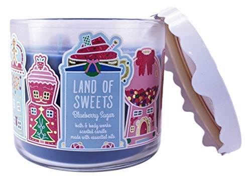 Bath and Body Works White Barn Land of Sweets Blueberry Sugar 3 Wick Candle 14.5 Ounce