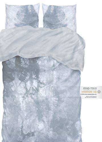 arteneur® - Bettwäsche Batik 200x200 cm grau - Bettbezug Set 3 Teilig mit 2 mal 80x80 cm Kissenbezug aus Microfaser mit Reißverschluss & Atmungsaktiv