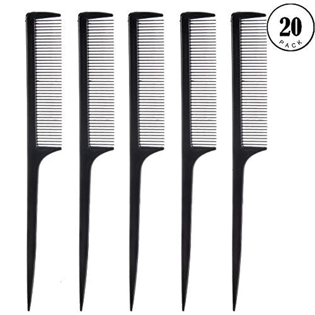祝福する激しい解釈するFeeko Comb, 20 Pieces 21CM Plastic Lightweight Rat Tail Comb All Hair Types Black [並行輸入品]