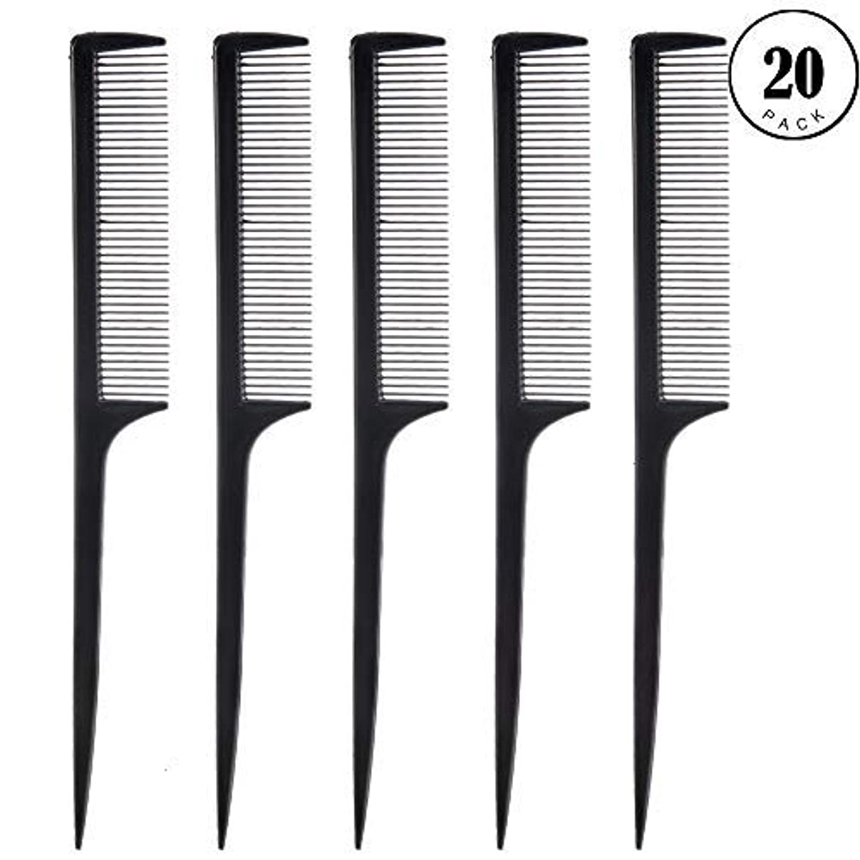 ぬれた成り立つ膜Feeko Comb, 20 Pieces 21CM Plastic Lightweight Rat Tail Comb All Hair Types Black [並行輸入品]