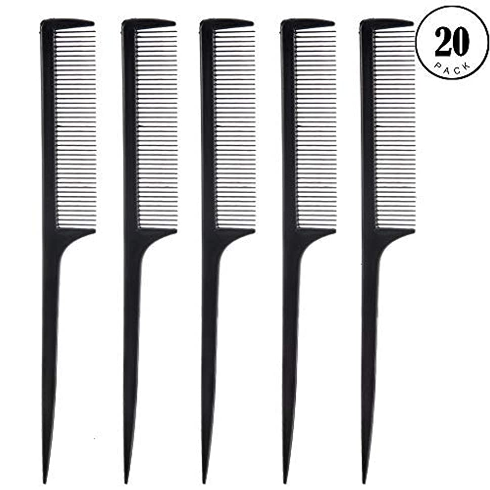 Feeko Comb, 20 Pieces 21CM Plastic Lightweight Rat Tail Comb All Hair Types Black [並行輸入品]